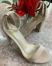 New Lulus Women's Taylor Suede Ankle Strap Heels Nude Open Toe Size US 7.5