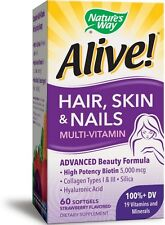 Natures Way Alive! Hair, Skin - Nails Softgels, Strawberry Flavored 60 ea