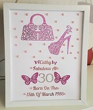 Personalised Birthday Framed Shoe & Bag 60th 70th 80th 90th 100th Any Age Gift