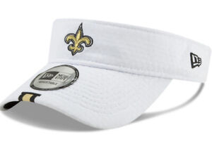 New Orleans Saints New Era White Gold OSFA Training Camp Visor Hat New Fast Ship
