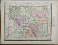 """Vintage 1900 WYOMING Map 14""""x11"""" Old Antique LARAMIE NEWCASTLE SHERIDAN SUNDANCE"""