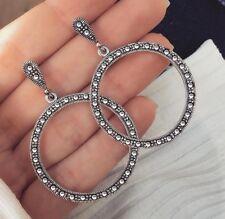Earrings Bohemian Style Silver Colour Statement Hoop