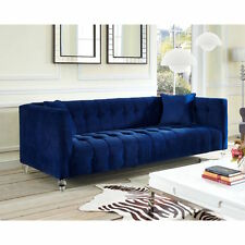 Horchow Replica Navy Velvet Jewel Tone Modern Tufted Sofa Rounded Acrylic Legs