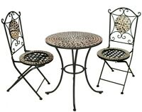Garden Kraft Outdoor Rose Gold Mosaic Bistro Mirror Table & Chairs Set - 3 Piece