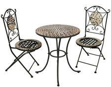 Garden Kraft Outdoor Rose Gold Mosaic Bistro Mirror Table & Chairs Set - 3 Piece