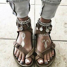 Womens Gladiator Sandals Ladies Summer Casual Beach Boho Flat Rome Peeptoe Shoes