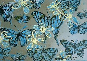 """New DAVID BROMLEY hand-signed Screenprint """"Blue Butterflies"""""""