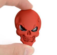 2 X Red 3D Metal Skull Emblem Sticker Skeleton Skull Decal Badge Fit Truck Car