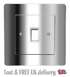 Chrome Silver Gloss Light Switch & SURROUND Sticker Vinyl / Skin Cover Decal