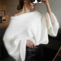 Womens Mink cashmere Off Shoulder Casual Sweater Loose Fit Tops Pullover enchan