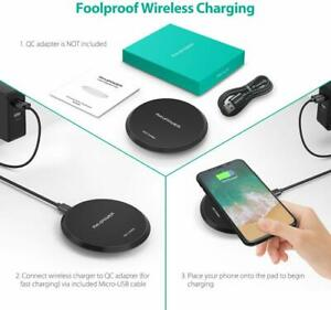 Wireless Charger RAVPower Qi-Certified 10W Fast Charging Pad Quick Charger