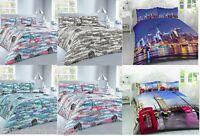 London Paris NYC Duvet Quilt Cover Pillowcase set Single Double King Super blue