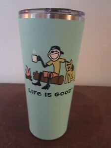 """NWT  LIFE IS GOOD 25 OZ  STAINLESS STEEL TUMBLER -""""HAPPY HOUIR"""" TEAL .GREAT GIFT"""