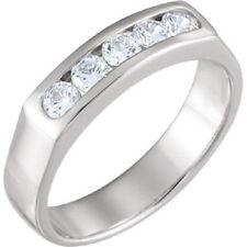 5 Round Diamond Band 14k White Gold Anniversary Ring 0.15 ct each SI1 0.75 tcw