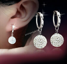 925 Sterling Silver Elegant Women Shamballa Crystal Drop Dangle Earrings Gift