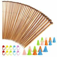 62 Pieces Knitting Needles Set with 18 Sizes Bamboo Knitting Needles and KniU9T9