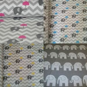 """GREY CHEVRON *STARS*ELEPHANTS*100% Cotton Fabric Material By The Metre 63"""" Wide"""