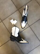 Zara Black & White Leather Cowboy Boots With Metal Toe Cup UK7 EU40 US9 # 688