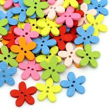 Trendy 2Holes Flower Wooden Decorative Buttons For Sewing Scrapbooking Crafts