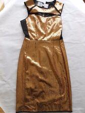 BCBG MAXAZRIA GOLD SEQUIN DRESS Size XXSMALL PEEK A BOO BODICE FULLY LINED NWT