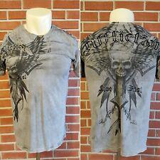 Affliction Live Fast Short Sleeve Crewneck T-Shirt Skull Mens Large Gray EUC USA