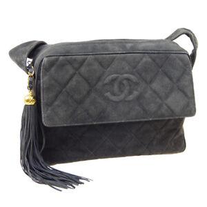CHANEL Quilted Fringe CC Shoulder Bag 3477366 Purse Charcoal Gray Suede RK13926h