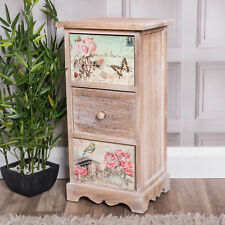 Wooden 3 Drawer Bedside Lamp Table Vintage Style Home Chic Storage Hallway Decor