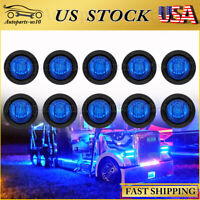 "10x Round 3/4"" Blue LED Clearance Marker Bullet Auto Truck Trailer Lights Lamp"