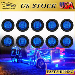 """10x Round 3/4"""" Blue LED Clearance Marker Bullet Auto Truck Trailer Lights Lamp"""