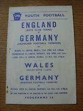 23/04/1956 Inglaterra Boys Club sur de Inglaterra equipo v Alemania [en lectura] & 26/0