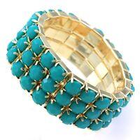 Turquoise Teal Beads Stretch Cuff Bracelet Gold Tone Adjustable Band Designer