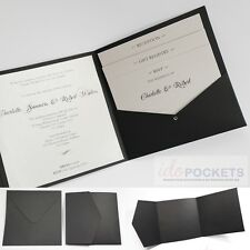MATTE BLACK SQUARE WEDDING INVITATION POCKET ENVELOPES POCKETFOLDS 150MM 6 x 6