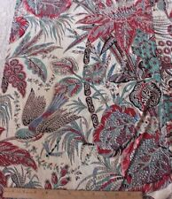 Gorgeous Antique French Printed Exotic Bird & Flora Indienne Fabric c1830-1860