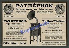 ORIG insegne Pathé Fréres DeutscheGrammophon pathéphon gomma lacca PIASTRA musica Berlin 1911