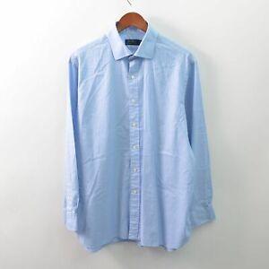Polo Ralph Lauren Dress Shirt Mens 17-1/2 34-35 Blue Plaid Cotton Long Sleeve