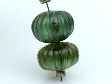 Natural Green Tourmaline Hand Carved Pumpkin Rondelle Gemstone Beads (08025)