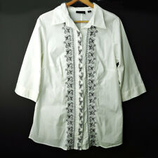 Avenue 14 16 white black embroidered button down tunic shirt blouse top L XL