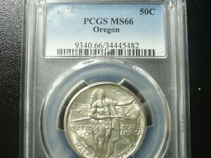 1926 Oregon Trail Commemorative Silver Half Graded PCGS MS66