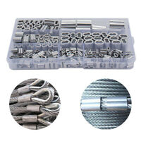 245Pcs 7 Size Aluminum Crimping Loop Sleeve Kit For Wire Rope And Cable Line End