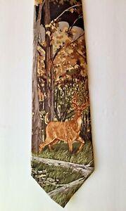 Deer with Antlers Tie by Puritan Wild Life Hunter 100% Silk Neck Tie