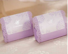 10x Purple Wedding Bridal Bomboniere Favour Box