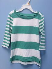 NWT Old Navy Girls Mixed-Striped Tee Top XS (5) White Green Shirt 100% Cotton