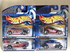 Hot Wheels 2002 Set of 4x Stars & Stripes Deora II, El Camino, '34 Ford 1/60 OVP