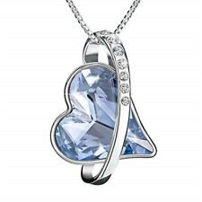 Aquamarine Pendant Necklace Mother'S Day Women Silver Plating Forever Love Heart
