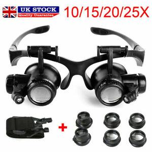 25X Magnifier Magnifying Eye Glass Loupe Jeweler Watch Repair Kit LED Light Gift