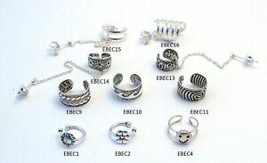 Sterling Silver Ear Cuff Fake Earring Hair Braid Body Pierce Jewellery FREE BOX