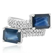 Two Emerald Cut Natural 4.00CT Blue Sapphire & Pave Set White CZ Stunning Band