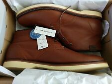 NEW Lacoste Mens Sherbrooke HI Boots Dark Brown/ Tan  Leather Ankle Boots Sz10.5