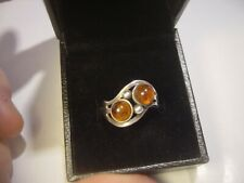 VINTAGE SOLID SILVER RING STUNNING UNUSUAL DESIGN  BROWN AMBER SIZE M QUALITY