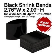 """Black Shrink Bands 2.76""""x2.09"""" 70x53mm Double Perforated 1.5"""" Wide-Mouth Bottles"""